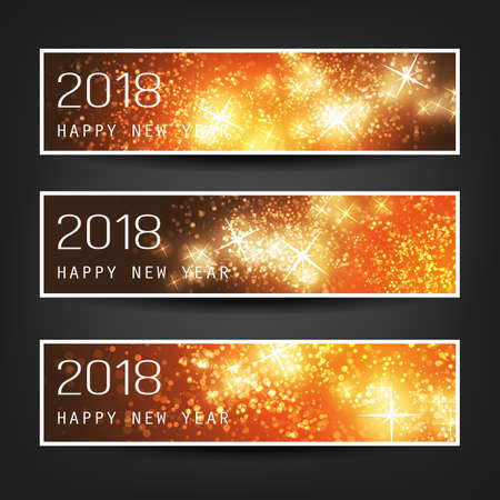 Set of Colorful Abstract Horizontal New Year Headers, Banners for Year 2018