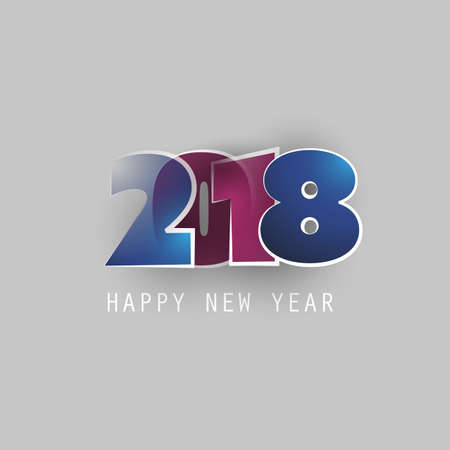 Best Wishes - Abstract Modern Style Happy New Year Greeting Card or Background, Creative Design Template - 2018