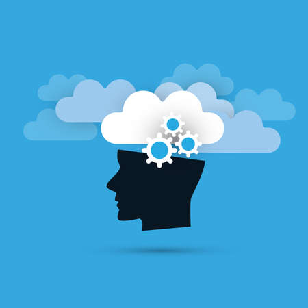 Machine Learning, Artificial Intelligence and Smart Technology Concept with Clouds and Human Head Banque d'images - 91883816
