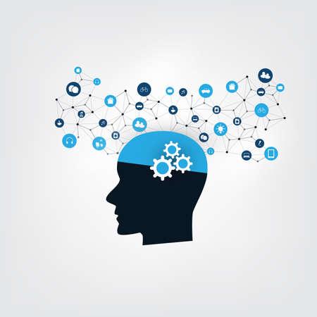 Machine Learning, Intelligenza Artificiale, Smart Technology e Network Communication Concept Vettoriali