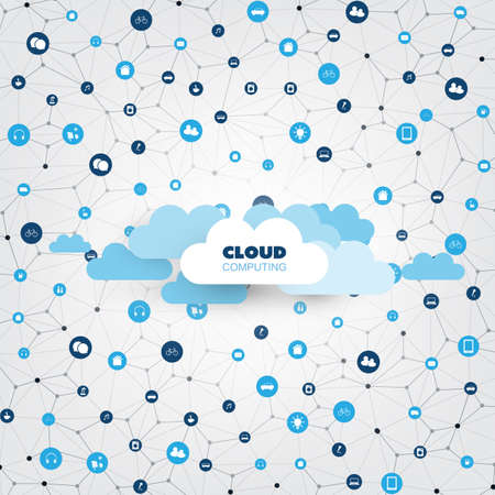 Cloud computing design concept with connected icons. Representing various smart devices and services. Digital network communication, technology background. Vettoriali