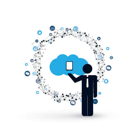 Cloud computing and internet of things design concept with a standing business man and icons. Digital network communication, technology background. Illustration