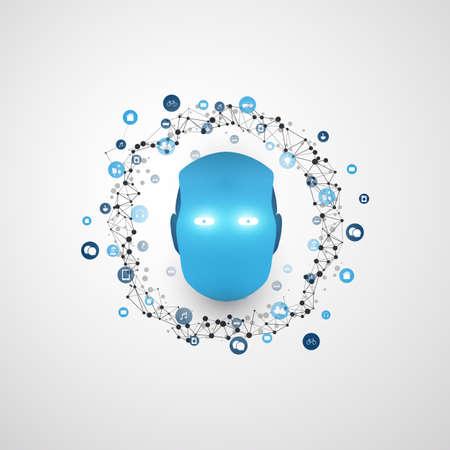 Artificial Intelligence, Digital Network Communication and Smart Technology Design Concept. Illustration