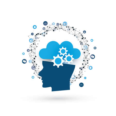 Machine Learning, Artificial Intelligence, Cloud Computing, Networks and Smart Technology Design Concept Illustration
