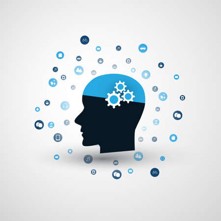 Machine Learning, Artificial Intelligence, Cloud Computing and Network Communication Design Concept with Icons and Human Head Illustration