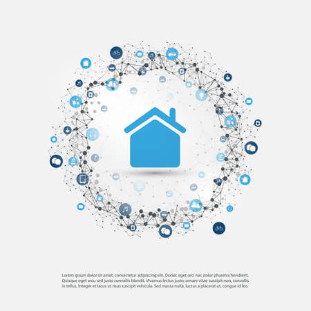 Smart home, internet of things or cloud computing design concept with icons. Digital network communication, technology background. Illustration