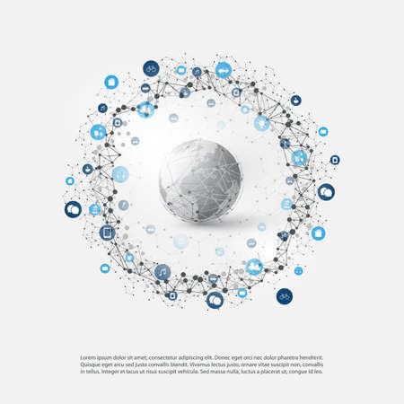 Internet de las cosas o concepto de diseño de computación en la nube con iconos - Comunicación de red digital, Fondo de tecnología inteligente Ilustración de vector