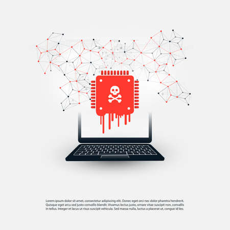 Laptop Equipped with a Processor Affected by Meltdown and Spectre Critical Security Vulnerabilities, Which Enable Cyber Attacks, Password or Personal Data Leak on Computers and Mobile Devices