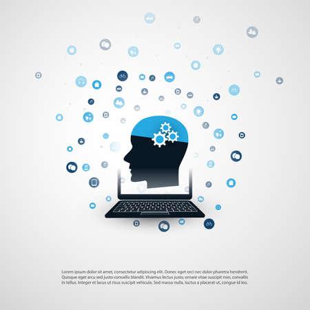 Machine Learning, Artificial Intelligence, Cloud Computing, Digital Network Communication, Smart Technology Concept