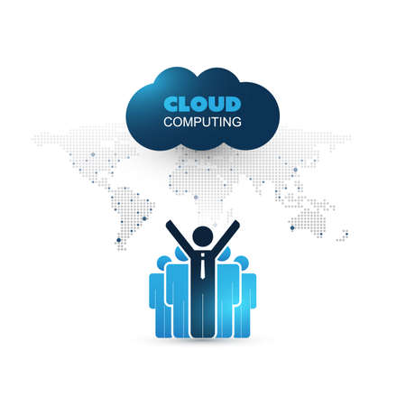 Cloud Computing Design Concept with Standing Businessmen and World Map - Digital Network Connections, Technology Background