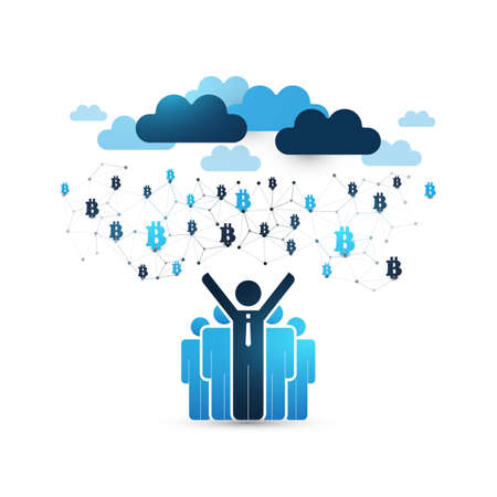 Cloud Computing Design Concept with Happy Businessmen and Icons - Digital Network Connections, Technology Background Illustration