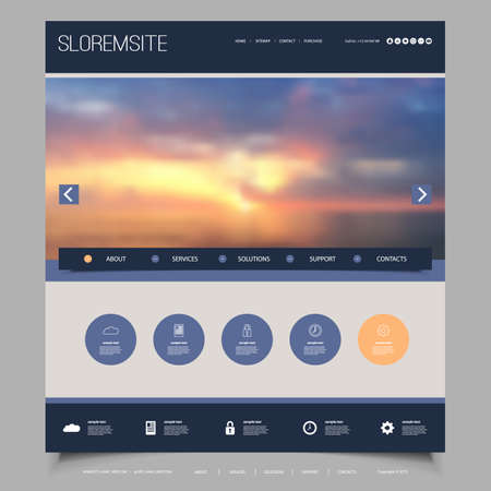 Website Design Template for Your Business with Sunset Sky Image Background - Dusk, Clouds, Sun, Sunlight Illustration
