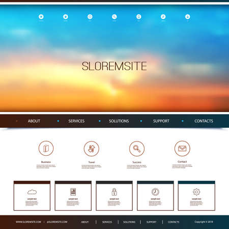 Website design template for your business with sunset sky image background. Dusk, clouds, sun, sunlight illustration.
