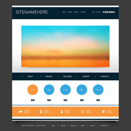 Website Design Template for Your Business with Sunset Sky Image Background -  Clouds, Sunlight