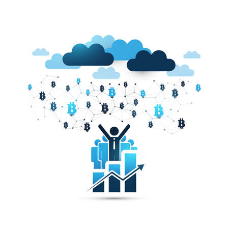 Blue Cloud Computing Design Concept with Happy Businessmen - Online Business Management, Network Connections, Technology Background Illustration