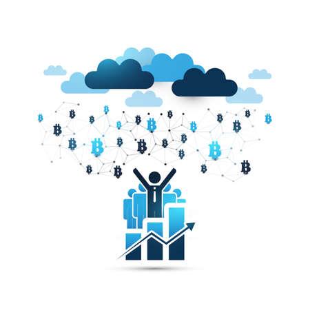 Blue Cloud Computing Design Concept with Happy Businessmen - Online Business Management, Network Connections, Technology Background Illustration