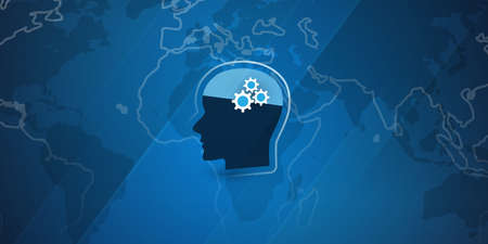 Machine Learning, Artificial Intelligence, Cloud Computing and Networks Design Concept with Human Head