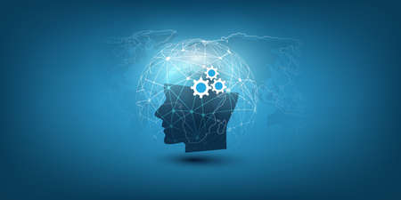 Machine Learning, Artificial Intelligence, Cloud Computing, Automated Support Assistance and Network Communication Design Concept