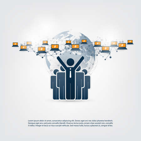 Business and Global Financial Connections and Money Transfer Concept Design