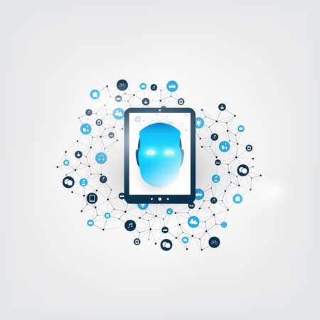 Machine Learning, Artificial Intelligence, Cloud Computing and Networks Design Concept with Digital Tablet, Icons and Robot Head