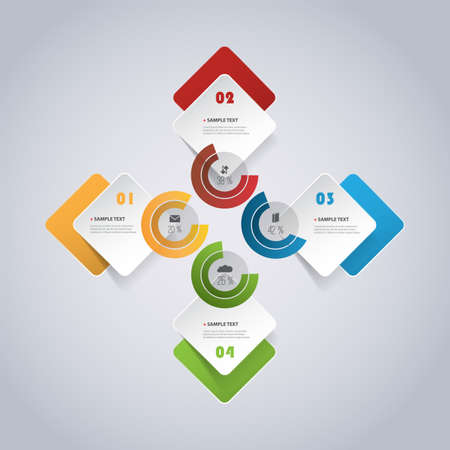 Colorful Modern Paper Cut Style Infographics Design - Set of Minimalist Numbered Geometric Shapes, Round Squares and Circles with Icons