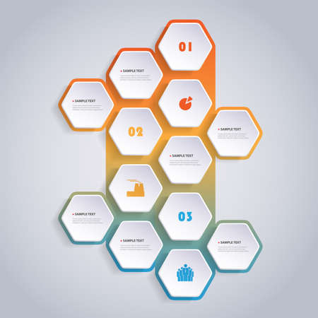 Colorful Modern Style Infographics Design - Set of Minimalist Numbered Geometric Shapes, Round Hexagons with Icons