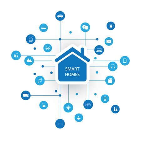 Smart Home, Internet of Things or Cloud Computing Design Concept with Icons - Digital Network Communication, Smart Technology Background