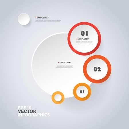 Colorful Modern Paper Cut Style Info-graphics Design  on Minimalist Geometric Shapes, Circles Illustration