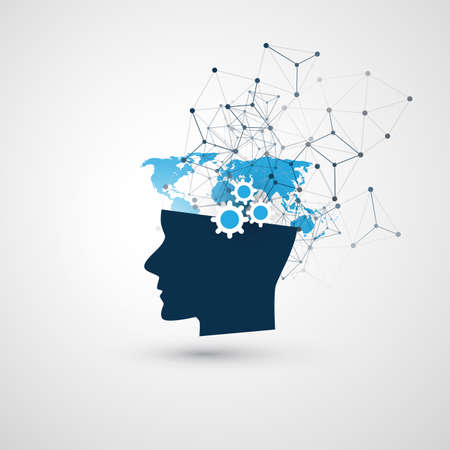 Aprendizaje automático, inteligencia artificial, computación en la nube y concepto de comunicación en red con cabeza humana