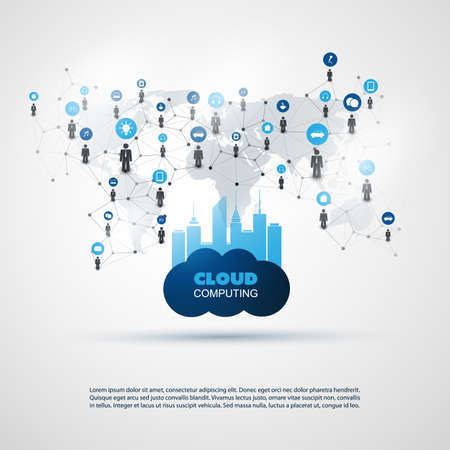 Cloud Computing and Smart City Design Concept - Digital and Business Network Communication, Technology Background