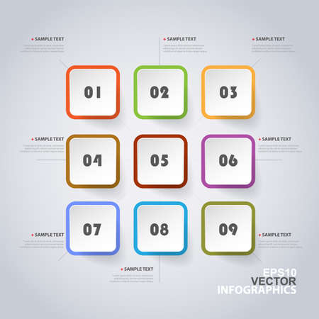 Colorful Modern Style Infographics Design - Set of Minimalist Numbered Geometric Shapes, Round Squares