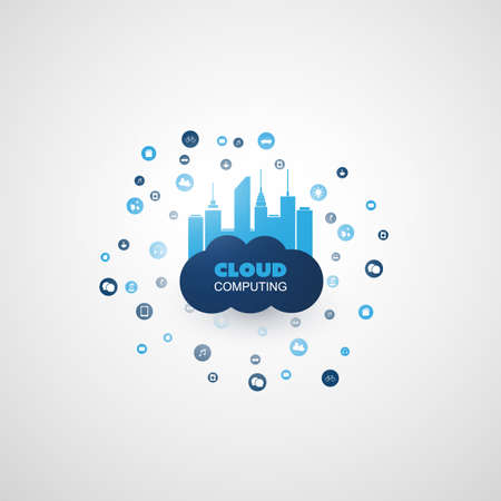 Cloud Computing Design Concept with Mesh, Connected Icons Representing Various Smart Devices and Services - Digital Network Communication, Smart Technology Background