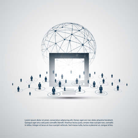 Networks - Business Connections - Abstract Cloud Computing and Global Network Communication Concept Design with Transparent Mesh