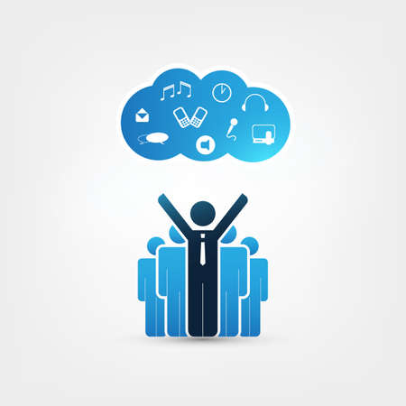 Cloud Computing Design Concept with Satisfied Businessmen and Icons - Digital Network Communication, Technology Background Illustration