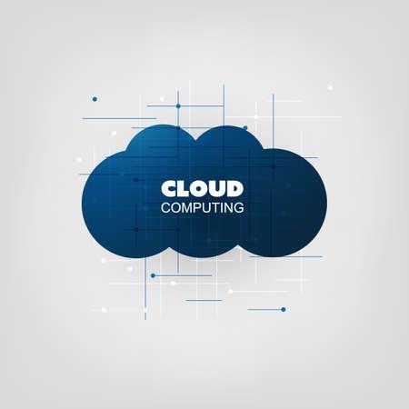 Cloud Computing Design Concept - Digital Network Communication, Technology Background Illustration
