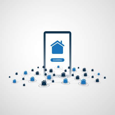 Économie du partage - Location de maison ou concept de conception d'hébergement entre pairs