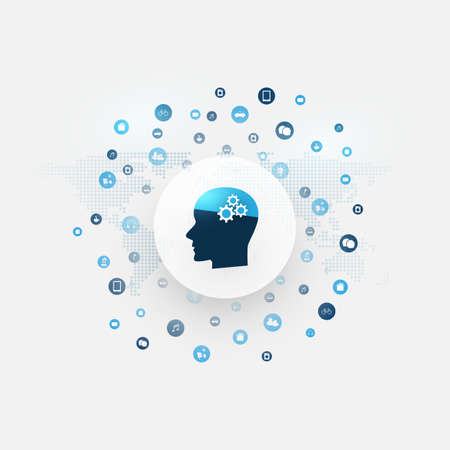 Abstract Machine and Deep Learning, Artificial Intelligence, Cloud Computing and Networks Design Concept with Icons and Human Head