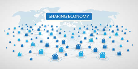 Sharing Economy - Home Renting, Peer to Peer Accommodation or Smart Home Network Design Concept
