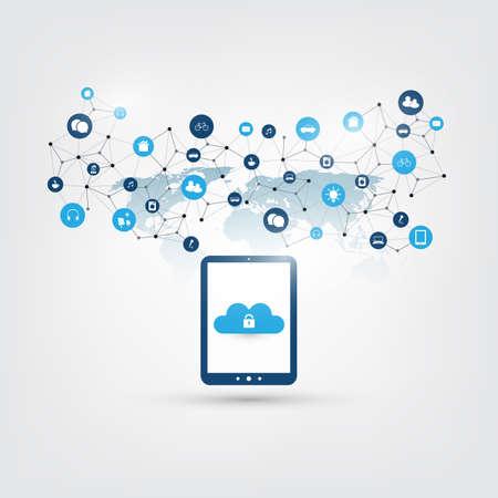 Concept de conception de cloud computing - Connexions réseau numérique, arrière-plan de la technologie