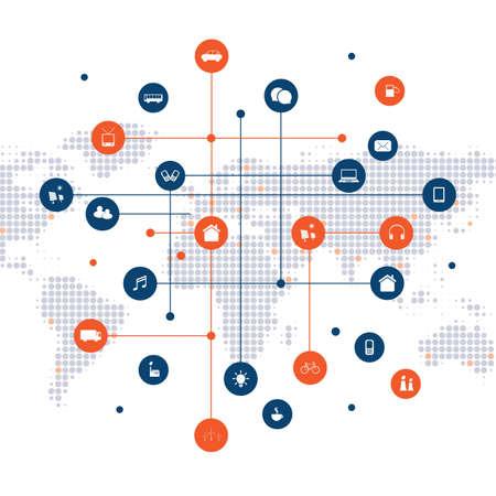 Smart City, Cloud Computing Design Concept met pictogrammen - digitale netwerkverbindingen, technische achtergrond met netwerkgaas en gevlekte wereldkaart