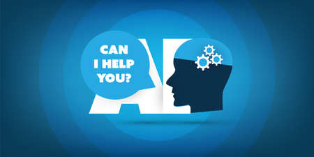 Can I Help You? - AI Assistance, Automated Support, Digital Aid, Deep Learning and Future Technology Concept Design with Human Head