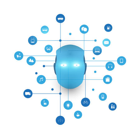 Speech Recognition, Digital Aid, Machine Learning, Artificial Intelligence, Cloud Computing and Networks Design Concept with Icons and Robot Head Illustration