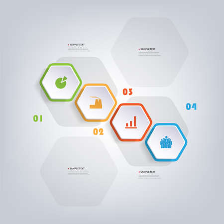 Colorful Modern Paper Cut Style Infographics Design - Set of Minimalist Numbered Geometric Shapes, Round Hexagons with Icons