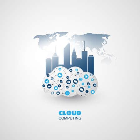Cloud Computing and Smart City Design Concept - Global Digital Network Communication, Smart Technology Background