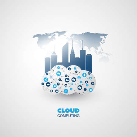 Cloud Computing and Smart City Design Concept - Global Digital Network Communication, Smart Technology Background