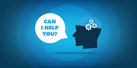 Can I Help You? - Artificial Intelligence, Automated Support, Digital Aid, Deep Learning and Future Technology Concept Design with Human Head