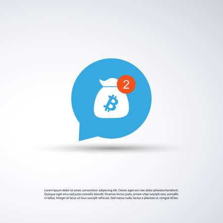 Message Indicator Icon Design - Business Opportunities, New Information - Bitcoin Concept