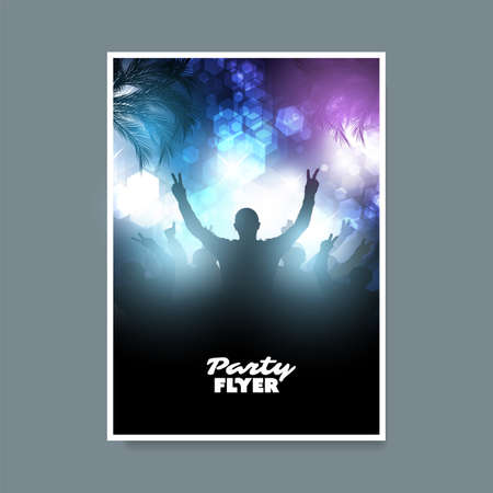 Colorful Party Poster, Placard, Flyer or Cover Design Template with Crowd Silhouette in the Dark