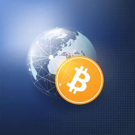 Business and Global Financial Connections, Cryptocurrency, Bitcoin Trading, Online Banking and Money Transfer Concept Design