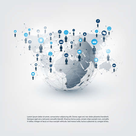 Internet of Things, Cloud Computing Design Concept with Icons - Global Digital Network Connections, Smart Technology Concept Illustration